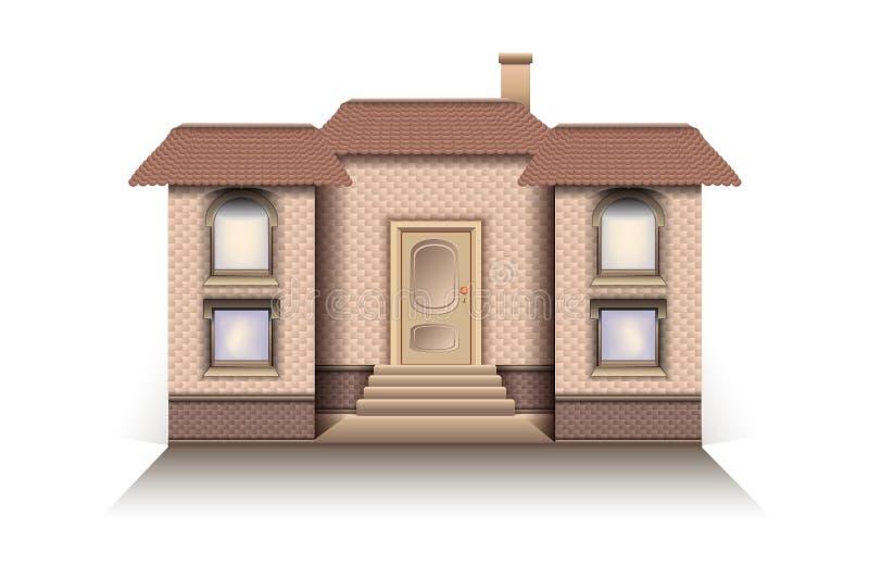 Inhysa den moderna modellen för stugan med för vektorvit för främre ingång en bakgrund stock illustrationer