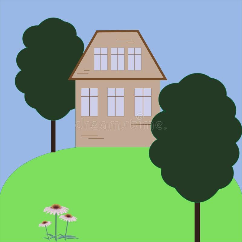 Inhysa för illustrationträdet för hem- byggnad familjen för tecknade filmen för byn för landskapet för gräsplan för trädgården fö stock illustrationer