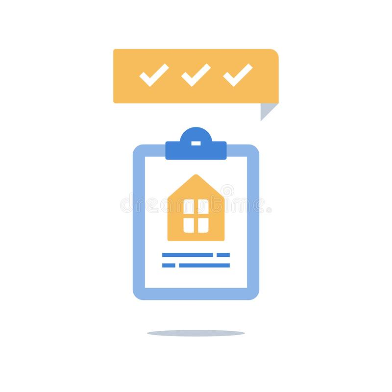 Inhysa försäkringpolitik, inteckna lånet, den hem- äganderätten, hushyra, fastighetservice, skrivplattan för kontrolllistan, egen royaltyfri illustrationer