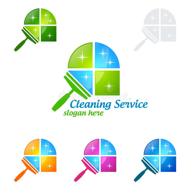 Inhysa lokalvårdvektorn Logo Design, den Eco vänskapsmatchen med skinande sprejbegrepp som isoleras på vit bakgrund royaltyfri illustrationer