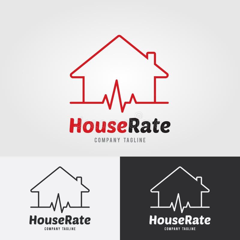 Inhysa Rate Logo Template med hjärtahastigheten, hjärtarytm, electroc royaltyfri illustrationer
