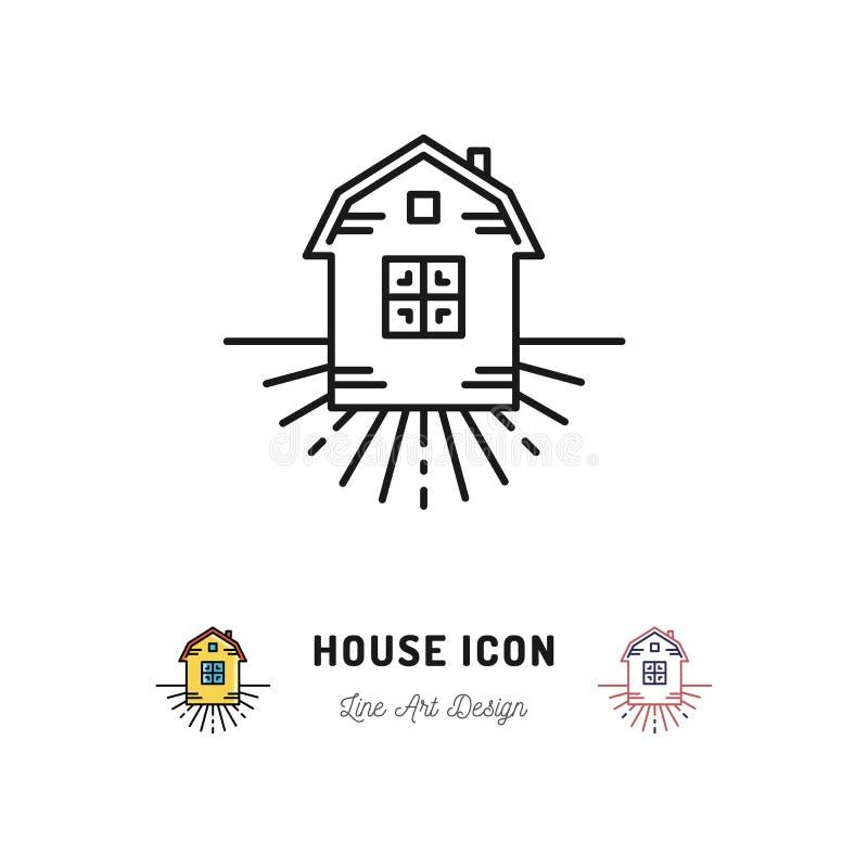 Inhysa symbolen, bylägenhetsymbolet, hemman, den tunna linjen konsttecken för vektorn royaltyfri illustrationer