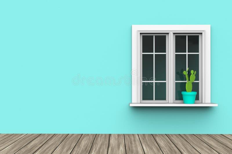 Inhysa yttersida med den blåa väggen och kaktuns i kruka på vita fönster och trägolv stock illustrationer