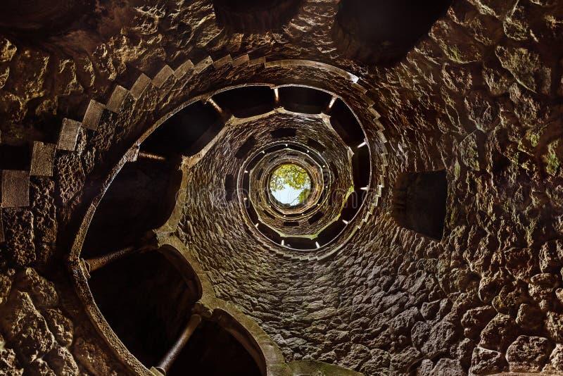 Iniciação bem no castelo Quinta da Regaleira - Sintra Portugal imagem de stock