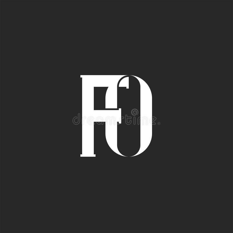 Iniciais FO do monograma ou do elemento criativo do projeto da tipografia do logotipo corajoso das letras, dois símbolo de tecela ilustração do vetor