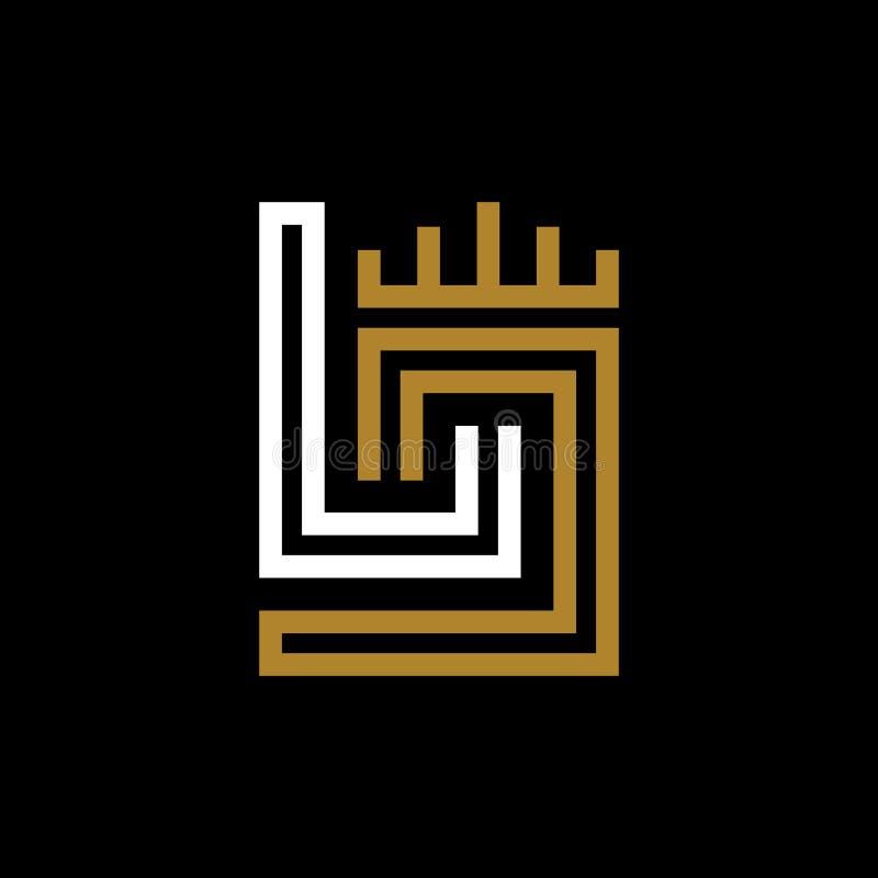 Iniciais LJ do projeto do monograma ilustração do vetor