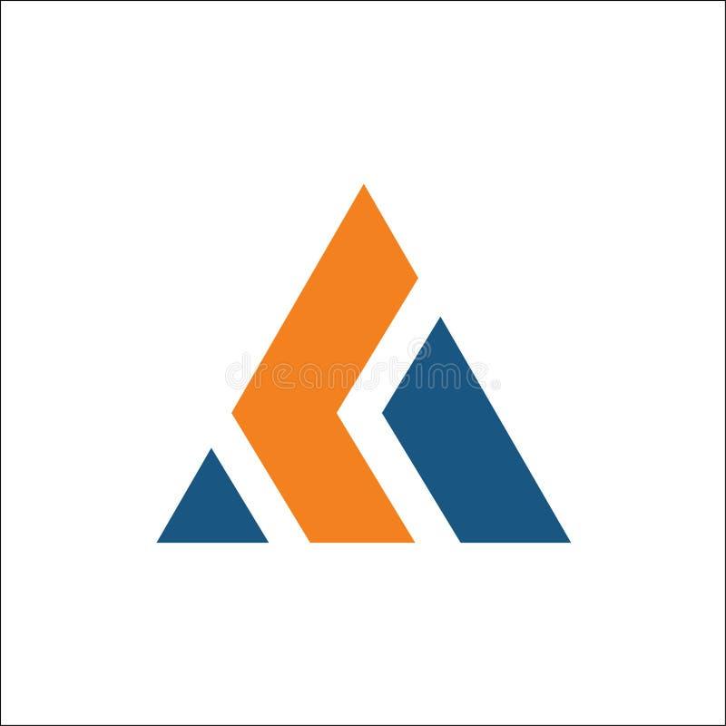 Iniciais um sumário do molde do vetor do logotipo do triângulo ilustração stock