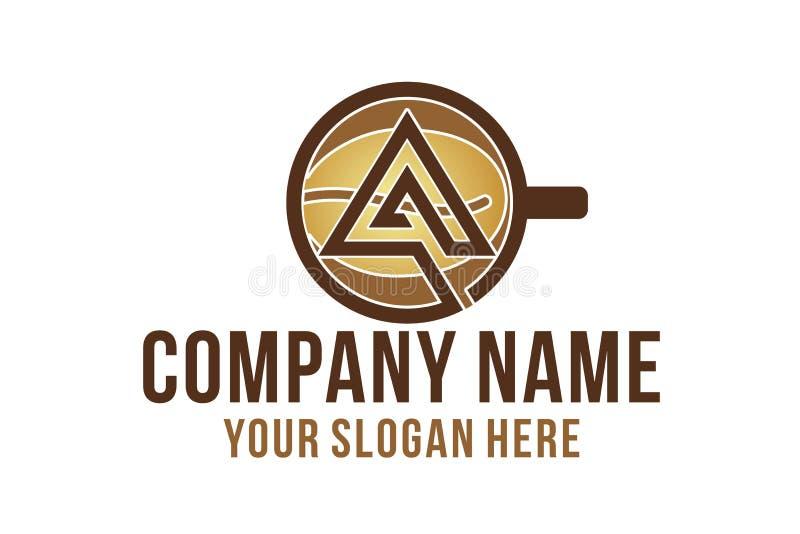 A inicial, caneca, feijão de café, inspiração dos projetos do logotipo da cafetaria isolado no fundo branco ilustração stock