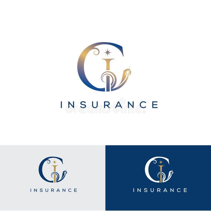 Inicial da letra de C Molde do projeto do logotipo do vetor da letra de C Emblema do vintage para o hotel, restaurante, boutique, ilustração stock