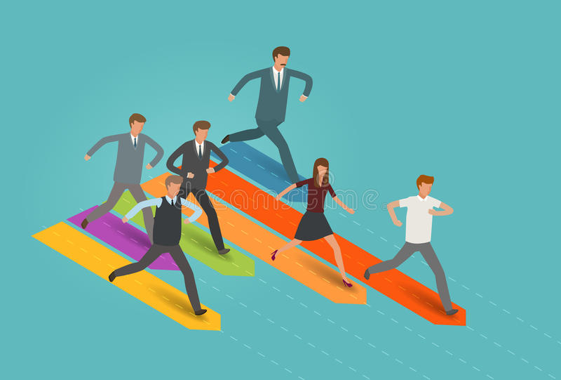 Inicio, carrera, concepto del negocio Hombre de negocios y grupo de hombres de negocios que corren a la meta Vector de Infographi libre illustration
