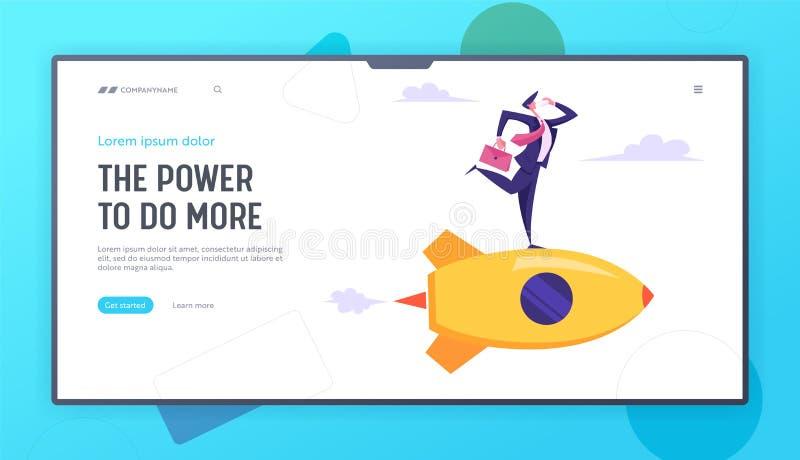 Inicio creativo de la innovación del negocio Carácter del hombre de negocios con la cartera a disposición que habla el vuelo de S stock de ilustración