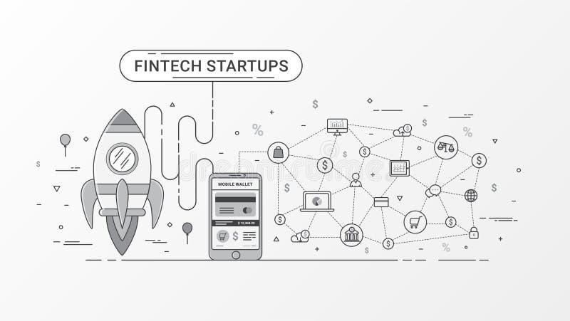 Inicio de Fintech infographic Tecnología financiera y nueva inversión empresarial con tecnología del blockchain stock de ilustración