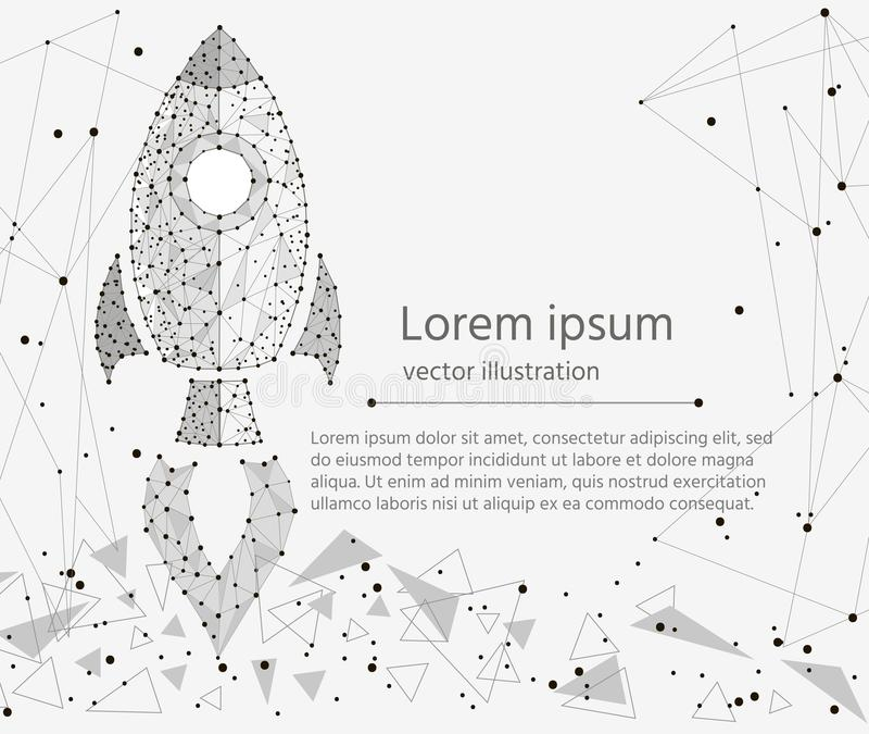 Inicio de Rocket, concepto de éxito aislado de wireframe polivinílico bajo en el fondo blanco Imagen poligonal abstracta del vect ilustración del vector