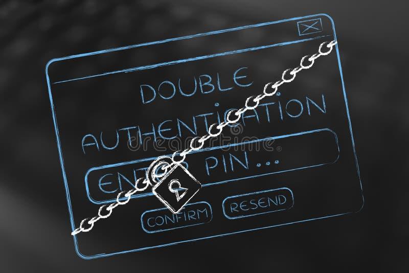 Inicio de sesión doble de la autentificación móvil con la cerradura y la cadena stock de ilustración