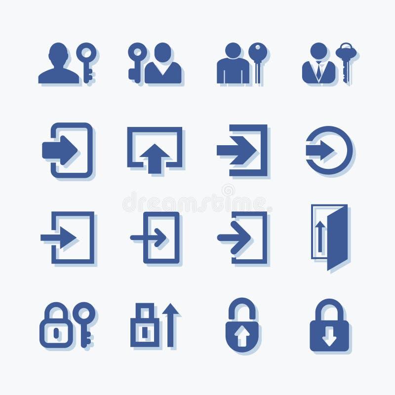 Inicio de sesión de usuarios o autenticar iconos del vectoe Símbolo personal de la protección Protección de la cuenta de la aisla libre illustration