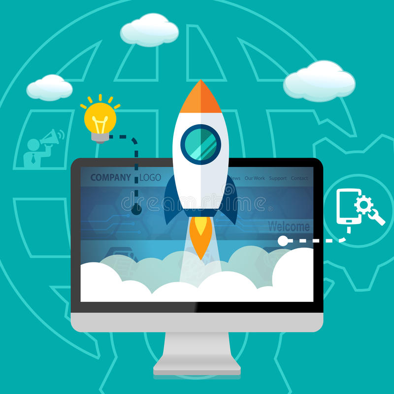 Inicio del lanzamiento del sitio web del negocio, desarrollo contento y mantenimiento stock de ilustración