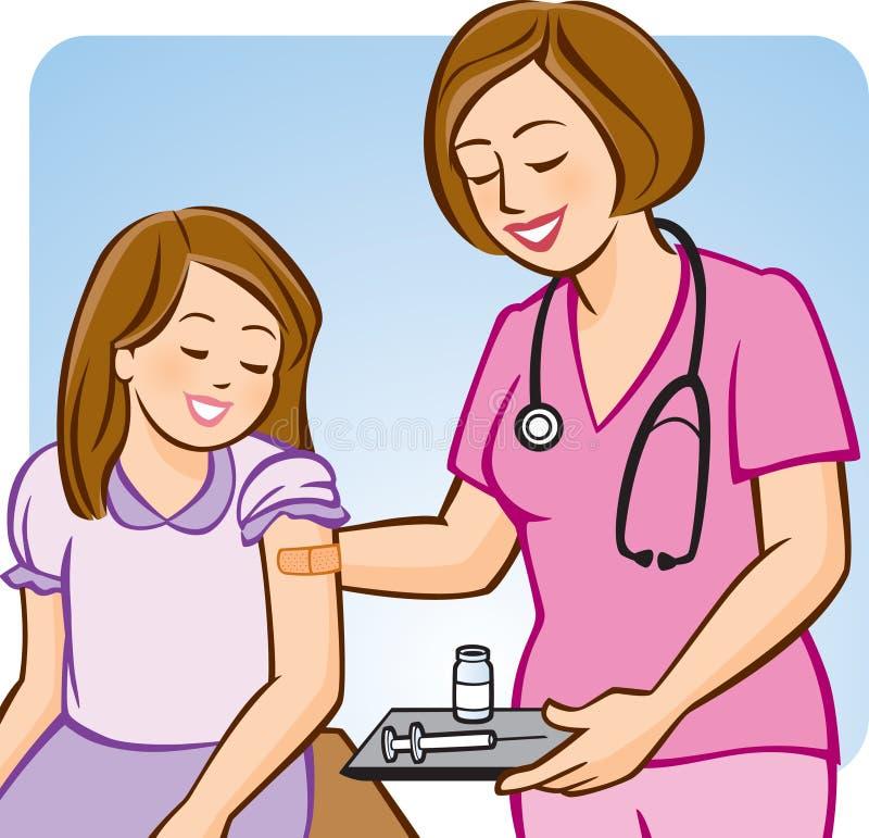 Iniezione antinfluenzale per i bambini illustrazione vettoriale