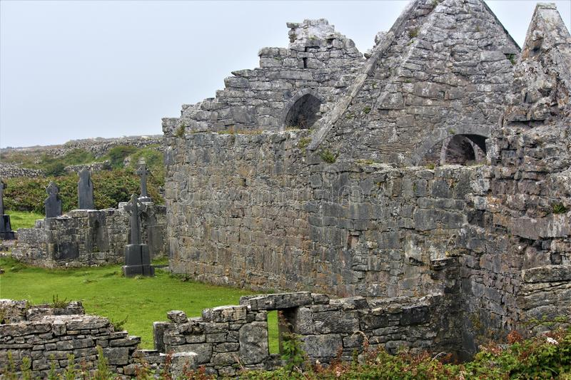 The `Seven Churches` On The Island Of Inis Mor. Inis Mor is the largest of the Irish Aran Islands and is home to the `seven churches royalty free stock image