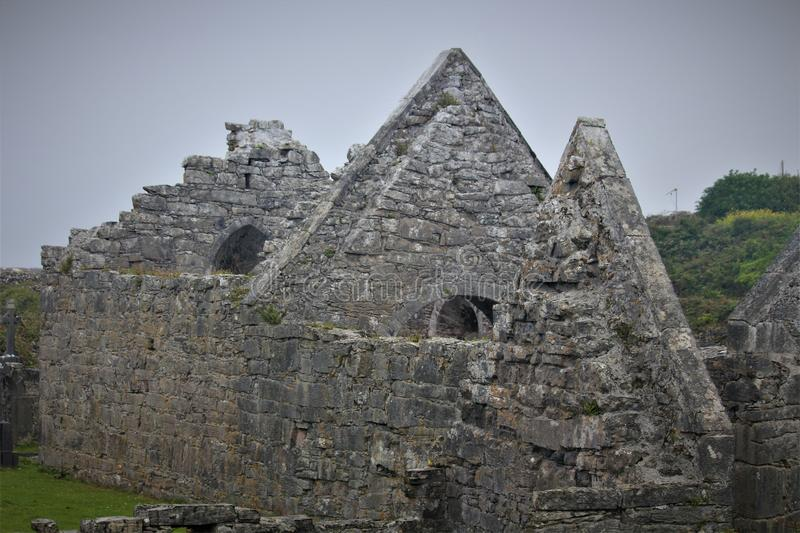 The `Seven Churches` On The Island Of Inis Mor. Inis Mor is the largest of the Irish Aran Islands and is home to the `seven churches stock photography