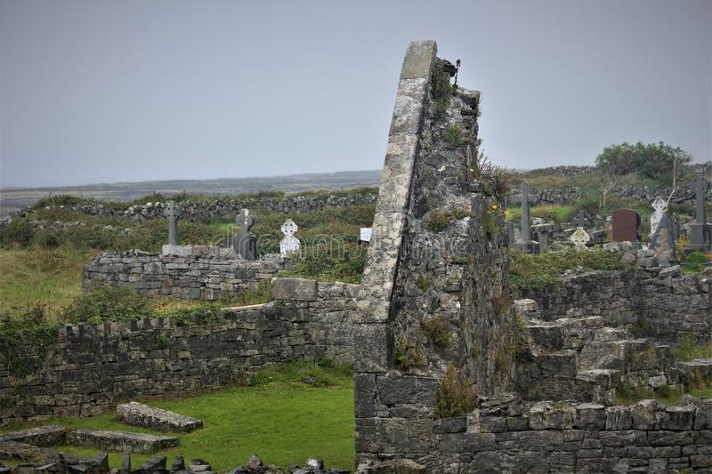 The `Seven Churches` On The Island Of Inis Mor. Inis Mor is the largest of the Irish Aran Islands and is home to the `seven churches royalty free stock images