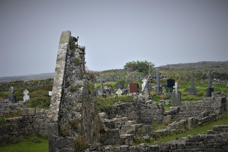 The `Seven Churches` On The Island Of Inis Mor. Inis Mor is the largest of the Irish Aran Islands and is home to the `seven churches stock photo