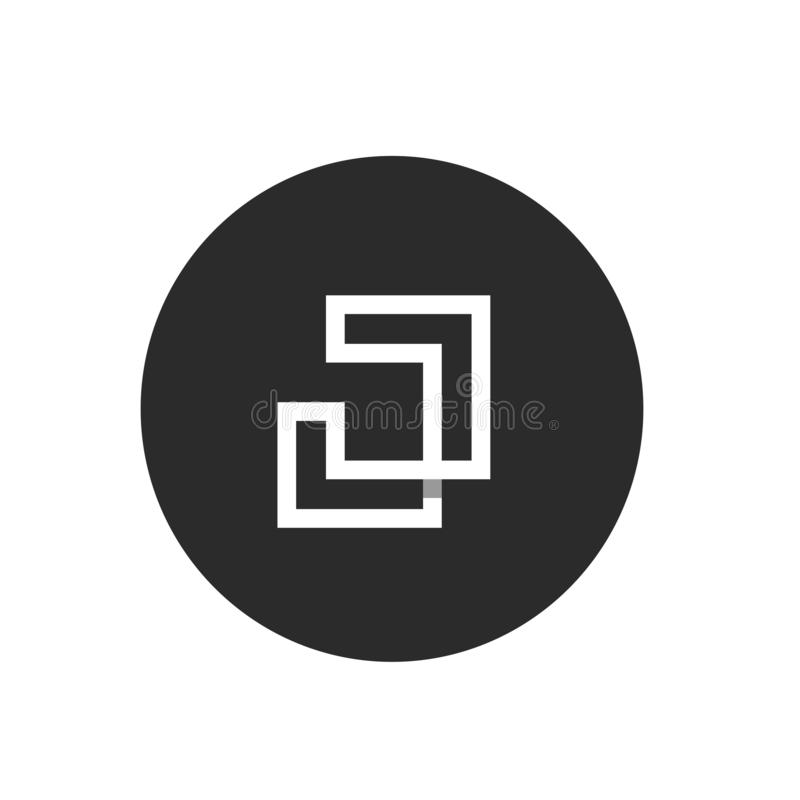 Initial Alphabet J Logo Concept, Shadow Break Style, Vector Monoline Logo royalty free illustration