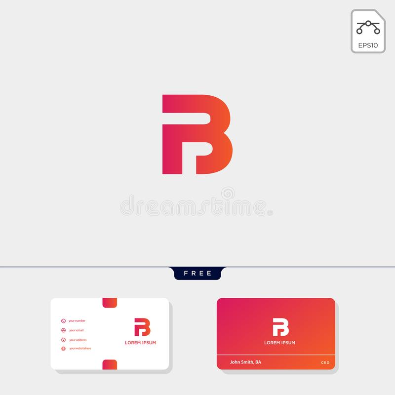 Initial B, BB, 13, 3, or EB outline creative logo template and business card design template include. vector illustration and logo royalty free illustration