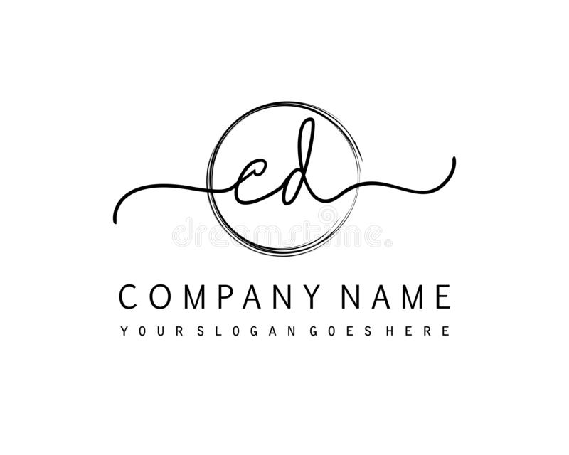 CD Initial handwriting logo circle template vector. Initial beauty monogram and elegant logo design, handwriting logo of initial signature, wedding, fashion stock illustration