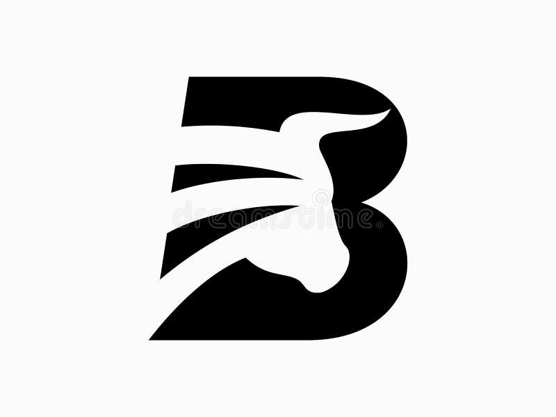 Initial bokstav B för den Bufallo designLogo Vector Graphic Branding Letter beståndsdelen vektor illustrationer