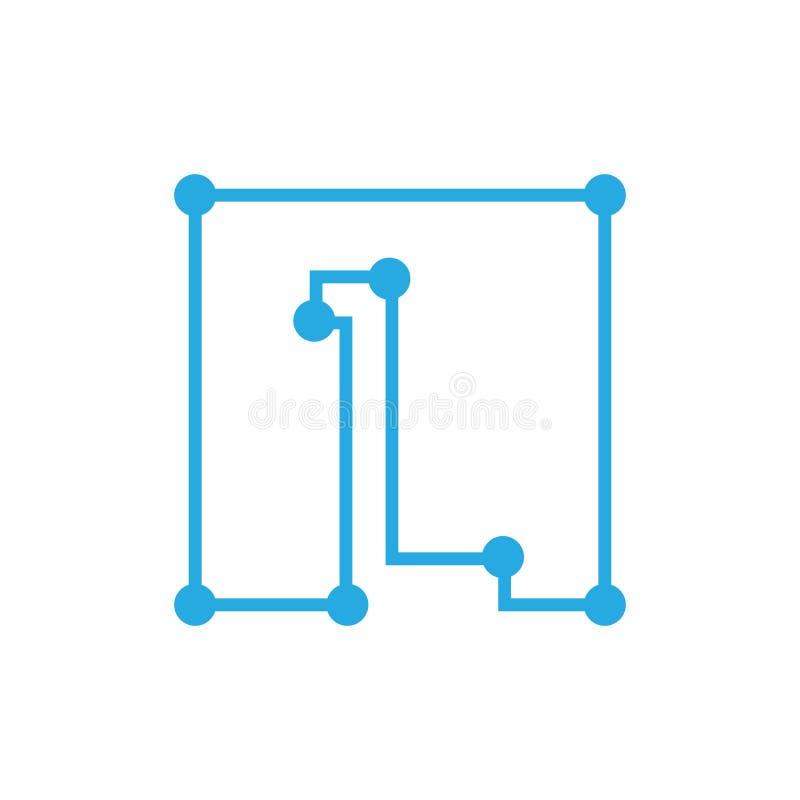 Initial bokstav L slaglängd för översikt för blockchainlogofyrkant royaltyfri illustrationer
