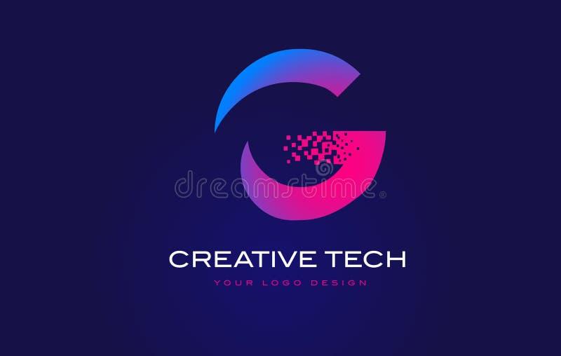 Initial bokstav Logo Design för G med Digital PIXEL i blåa lilor royaltyfri illustrationer