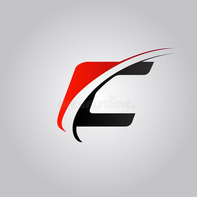 Initial C Letter logo with swoosh colored red and black. Concept vector illustration