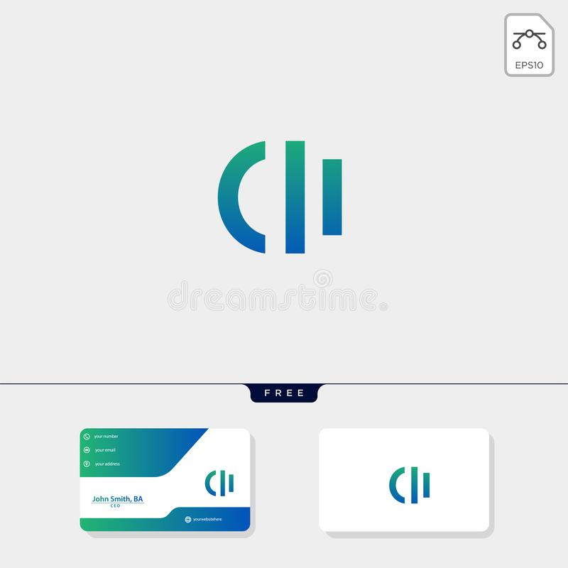 initial ci,ic creative logo template and business card include. vector illustration and logo inspiration stock illustration
