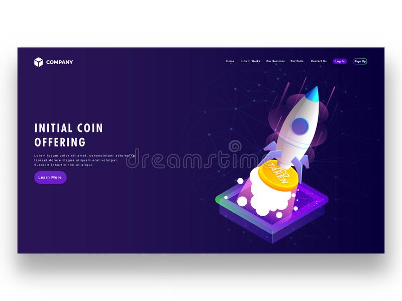 Initial Coin Offering ICO startup concept based landing page d. Esign with isometric illustration of rocket, launching Ico token vector illustration