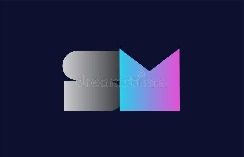 initial design för symbol för företag för logo för alfabetbokstavssm s M royaltyfri illustrationer