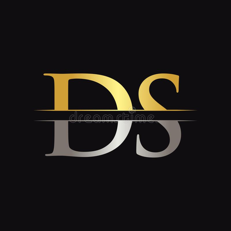 Initial DS Letter Logo Design Vector With Gold And Silver