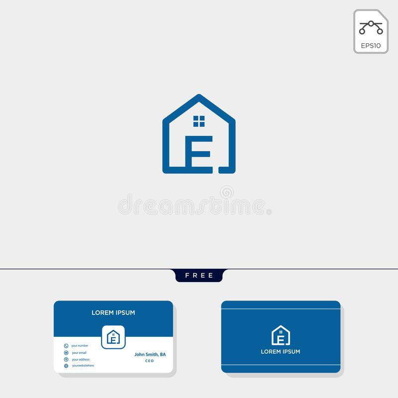 initial E creative logo template, minimalist logo for real estate corporate. vector illustration, business card design template royalty free illustration