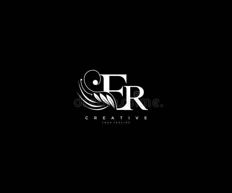 Initial ER letter luxury beauty flourishes ornament monogram logo vector illustration