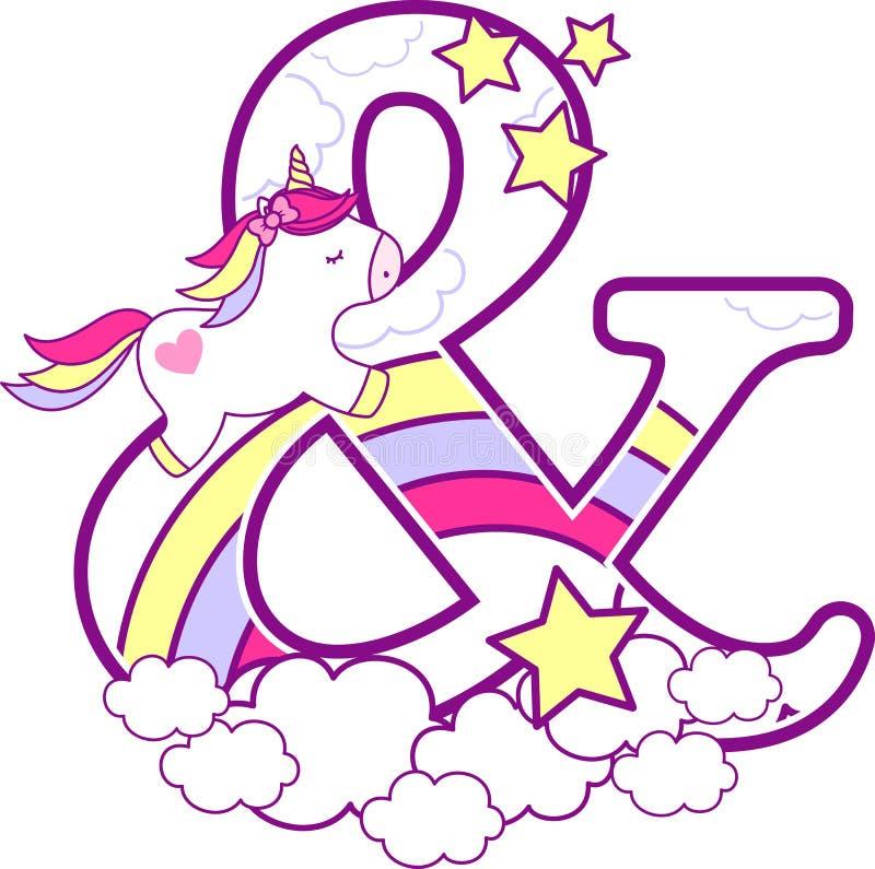 Initial et-tecken med den gulliga enhörningen och regnbågen stock illustrationer