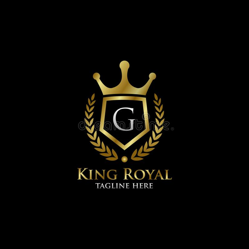 Initial G Luxury Shield Royal Logo. Letter G Luxury Shield Royal Logo , classy Elegant Logo with gold color in black background stock photo
