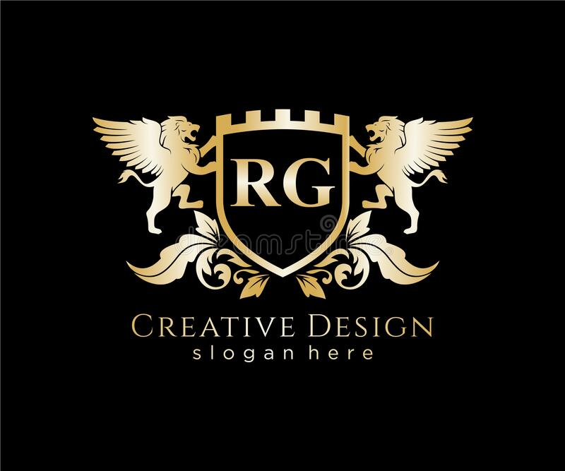 Elegant Initial Letter Rg With Crown Logo Vector Stock