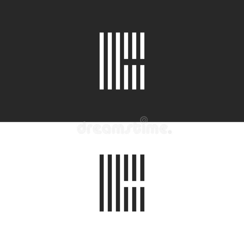 Initial hipster letter C logo monogram, black and white set emblems for business card, parallel lines geometric form striped shape stock illustration