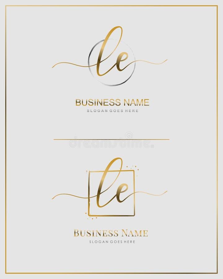 Initial L E LE Logo für Handschrift Handgeschriebene Logovorlage schreiben stock abbildung