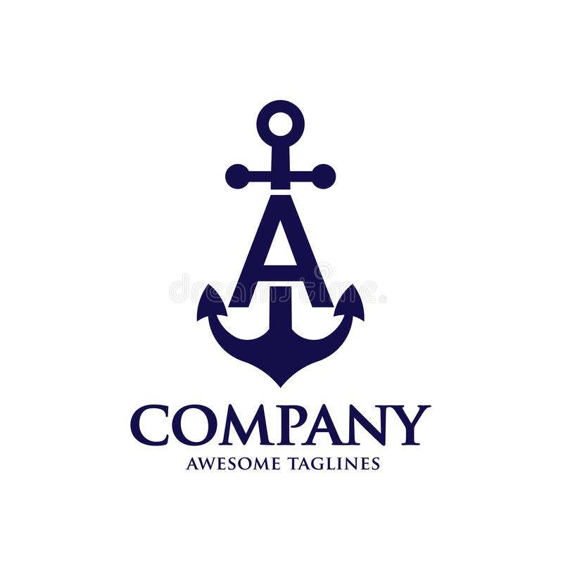 Initial letter a with Anchor blue color logo stock illustration