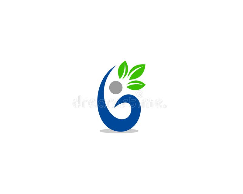 Initial Letter B With Leaf Logo royalty free illustration