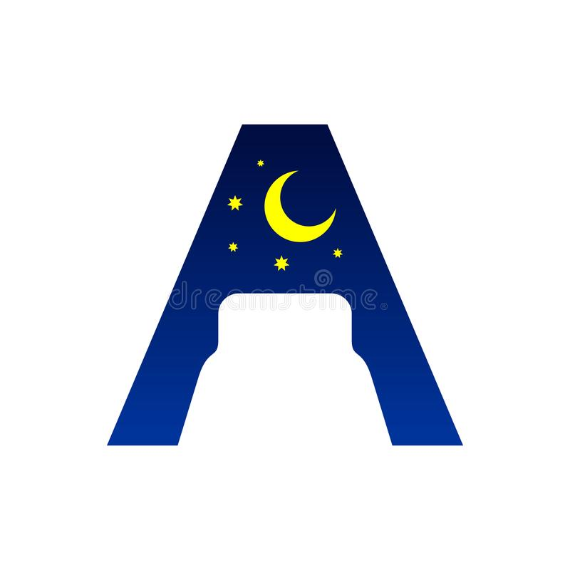 Initial Letter A Bed Negative Space Symbol Design stock photo