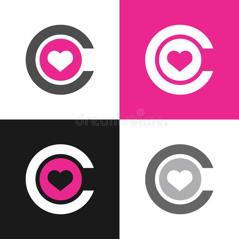 Free Initial Letter C And Heart, Love Symbol, Simple Vector Logo Illustration Royalty Free Stock Images - 167673389
