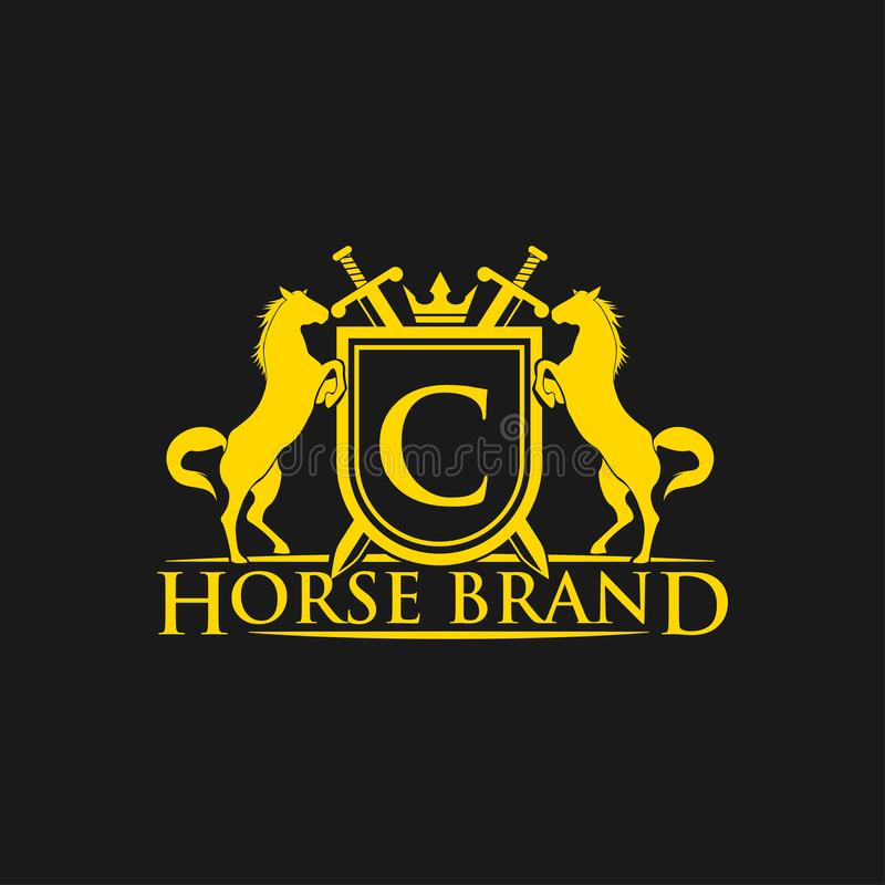 Initial Letter C Logo. Horse Brand Logo design vector. Retro golden crest with shield and horses. Heraldic logo template. royalty free illustration
