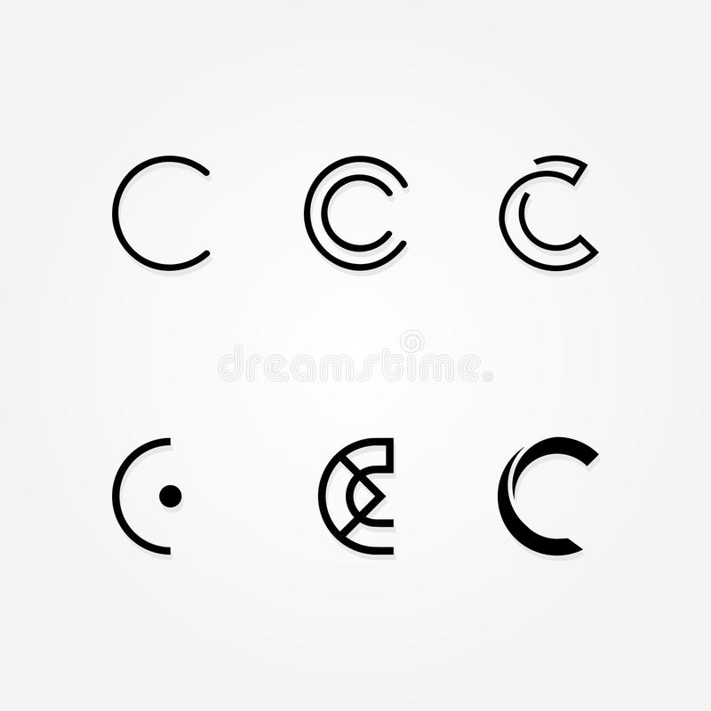 Initial letter C logo typo pack. Various Letter D big logo typo pack for your company royalty free illustration