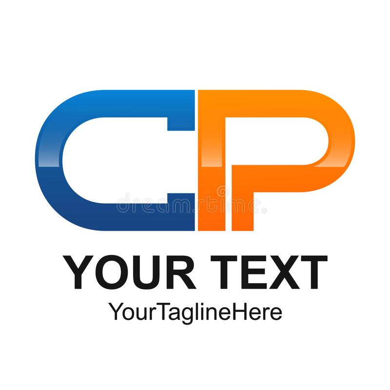 Initial letter CP logo design template element rounded colored o royalty free illustration